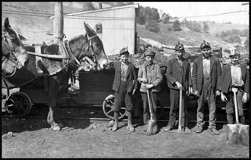 Tipple Boy and Drivers - San Lick Mine - Grafton - West Virginia - 1908